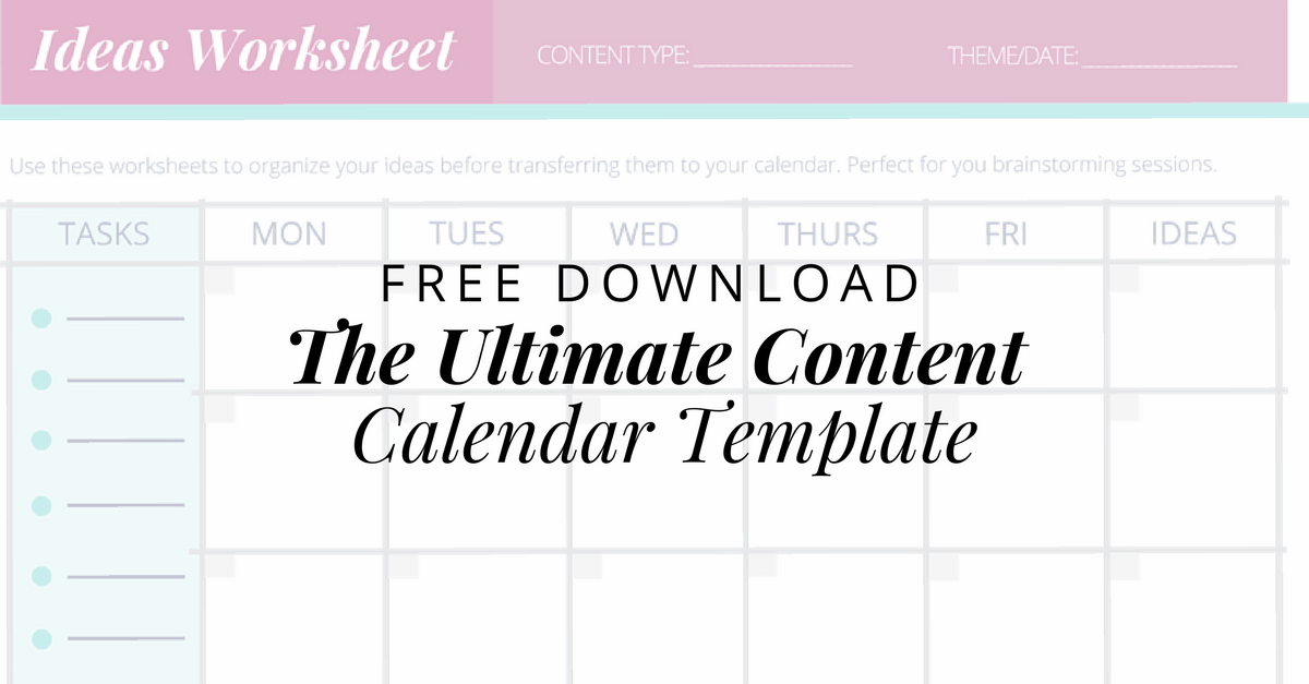 Free The Ultimate Content Calendar Template